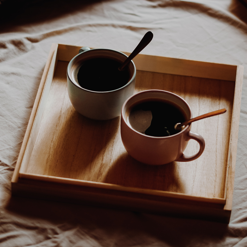 Coffee Cups on Wood Tray